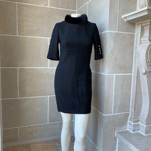 Escada Mink Collar Wool Dress